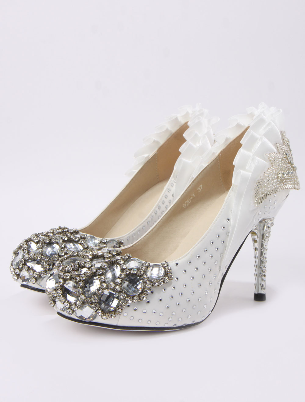 beading spike heel silk and satin cute bridal shoes