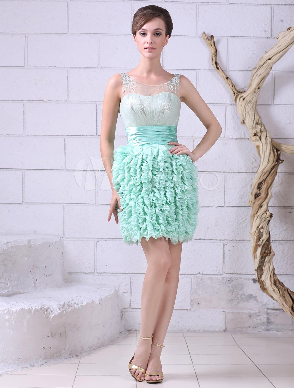 Vestidos De Baño Verde Menta:Mint Green Chiffon Cocktail Dress