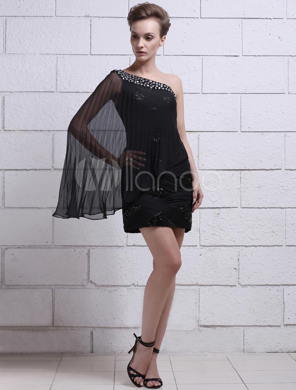 Black Beading One-Shoulder Long Sleeves Sheath Chiffon Evening Dress Milanoo (Wedding Evening Dresses) photo