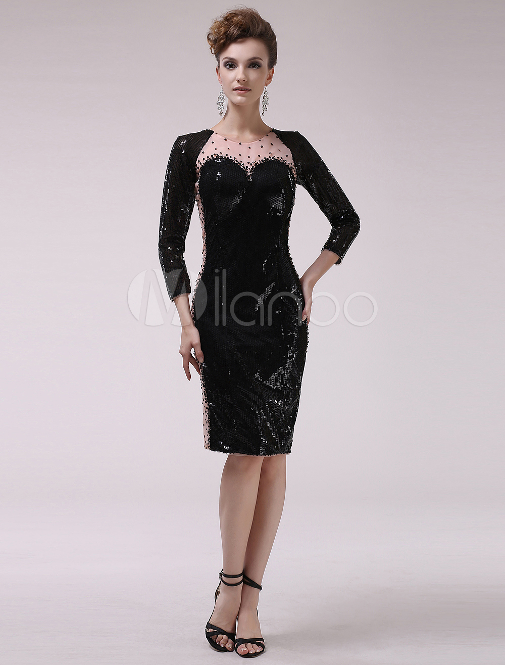 Black Long Sleeves Beading Sequined Sheath Cocktail Dress with Jewel Neck Milanoo (Wedding Cocktail Dresses) photo