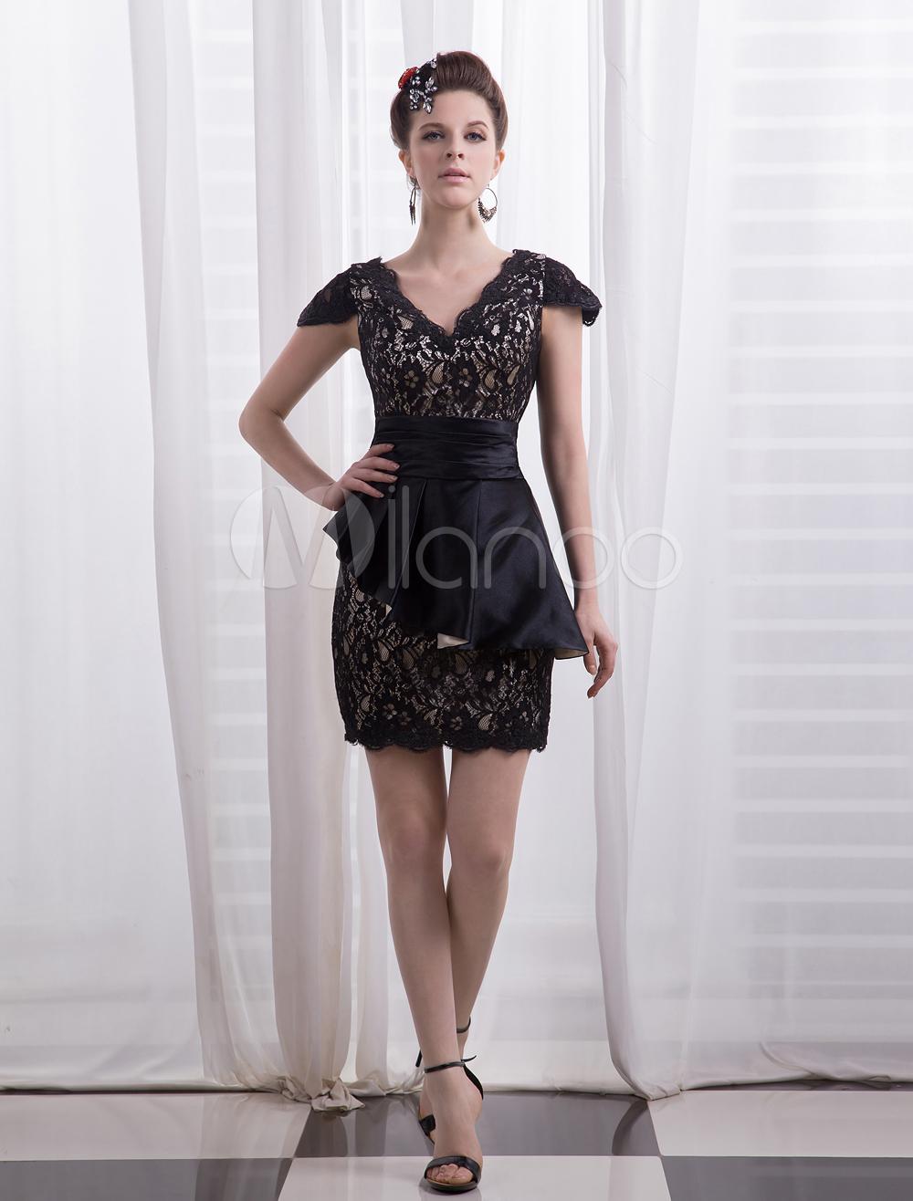 Black Sheath V-Neck Peplum Short Sleeves Lace Cocktail Dress Milanoo