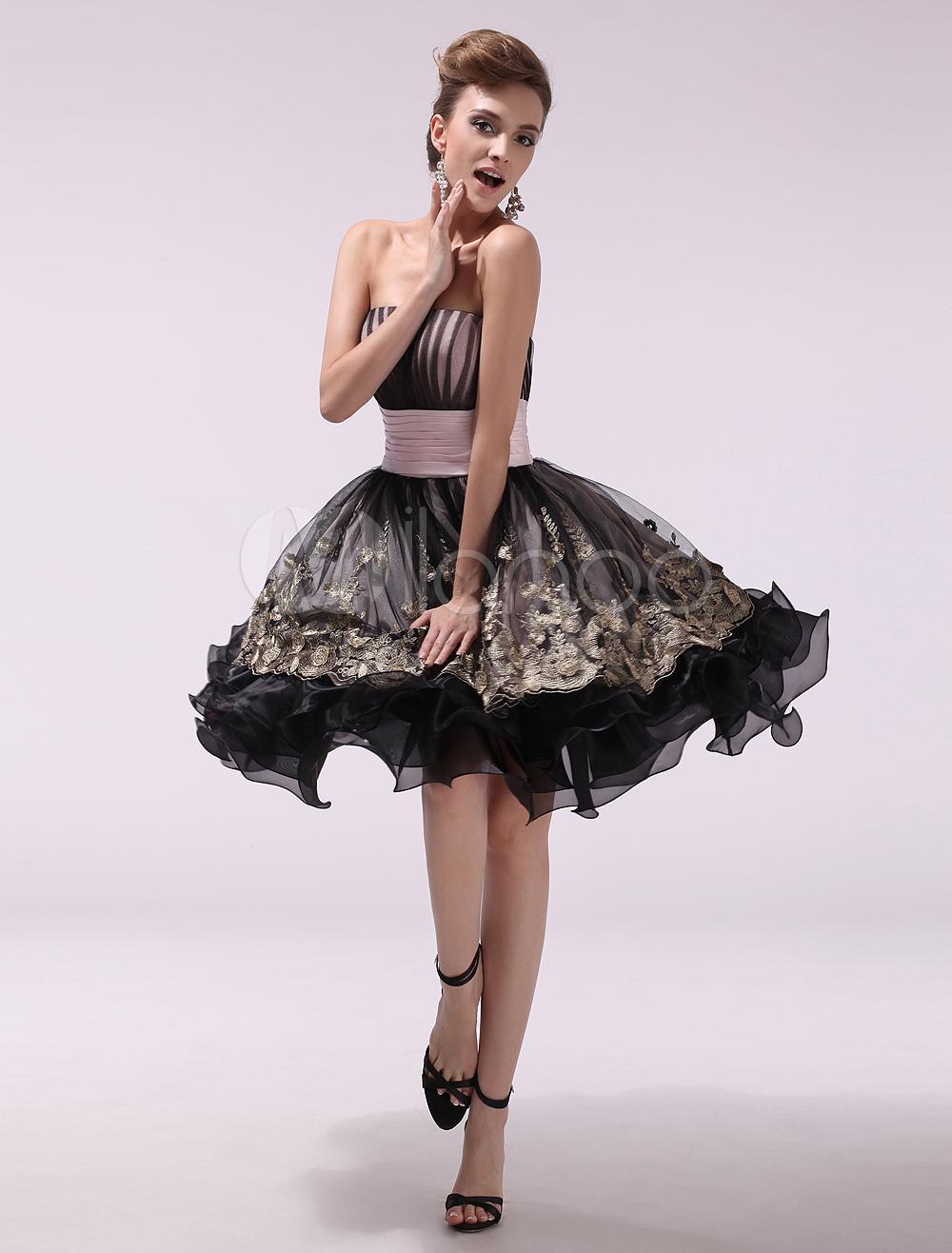 Black Strapless Sleeveless Pleated A-line Organza Prom Dress Milanoo (Wedding Prom Dresses) photo