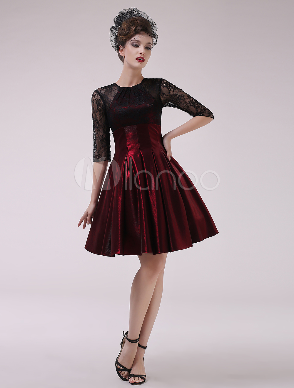 Burgundy A-line Draped Jewel Neck Half Sleeves Cocktail Dress ...