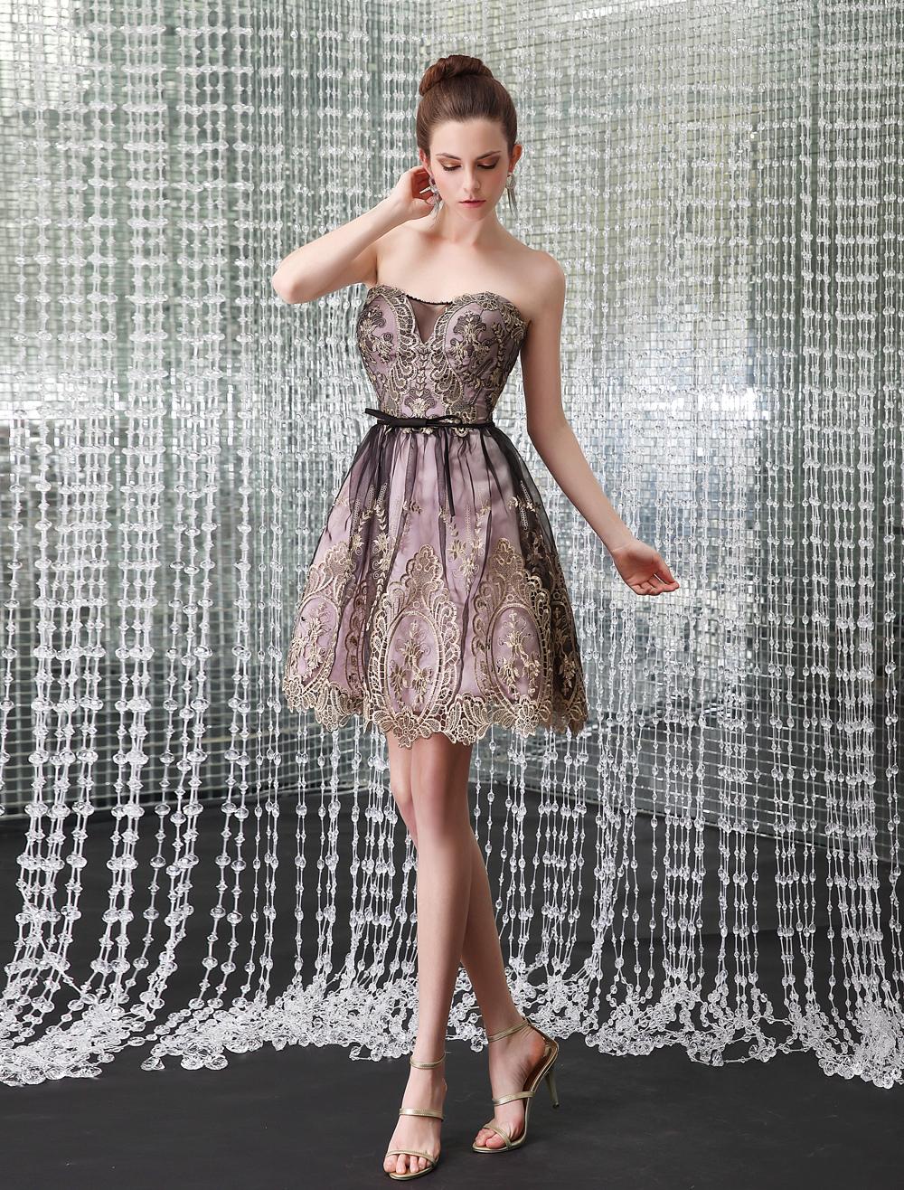 Chic Strapless Lace Short Women's Cocktail Dress Milanoo
