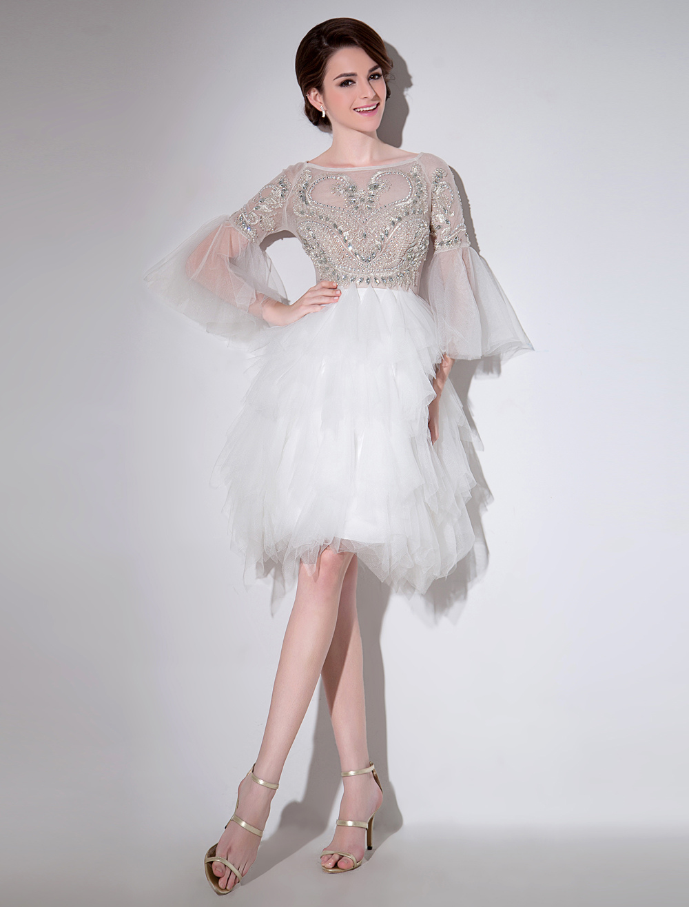 Ivory A-line Bateau Neck Rhinestone Tulle Cocktail Dress with 3/4 Length Sleeves Milanoo