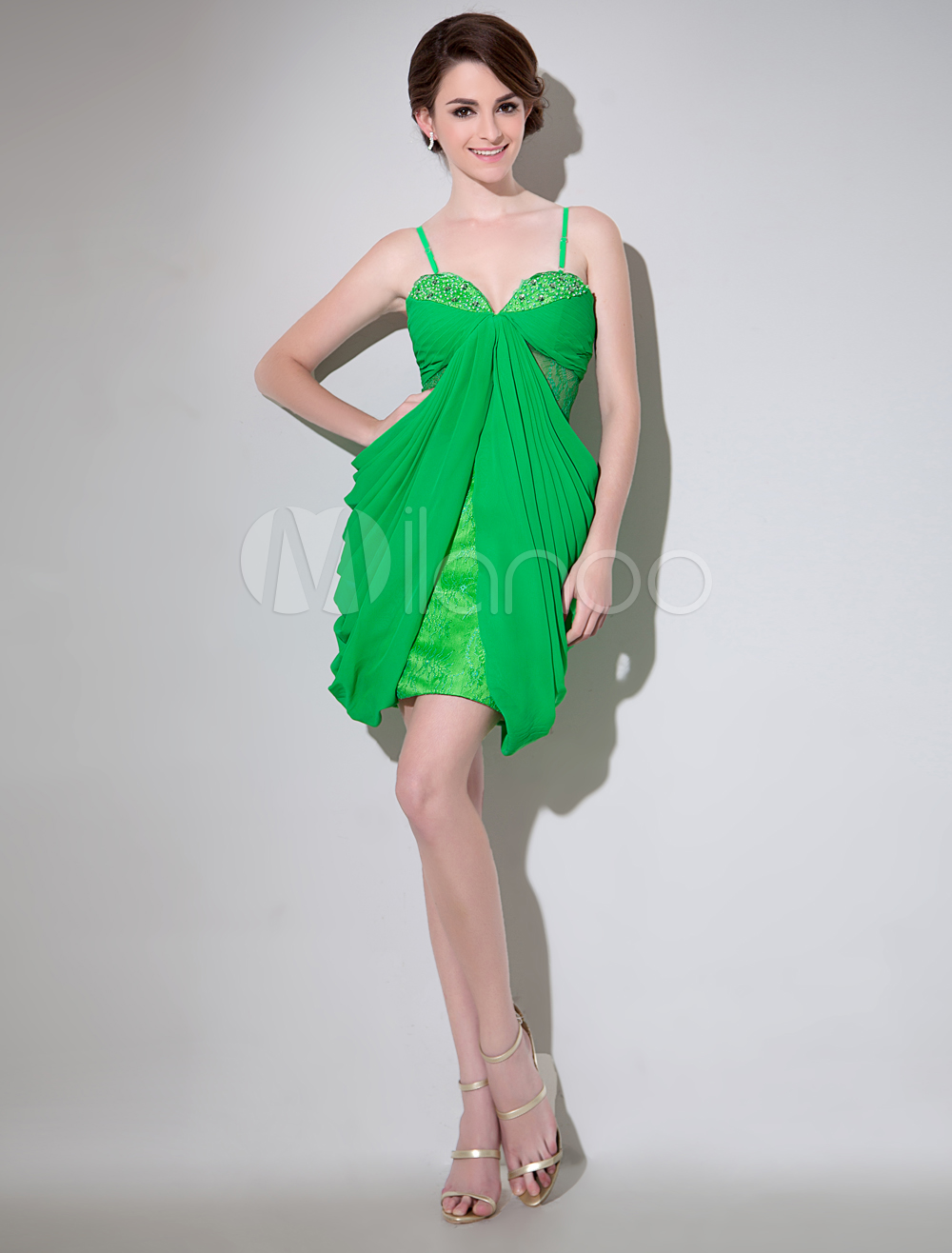 Chiffon Cocktail Dress Avocado Green Sheath Short Prom Dress Elegant Beading Sweetheart Sleeveless Party Dress Milanoo