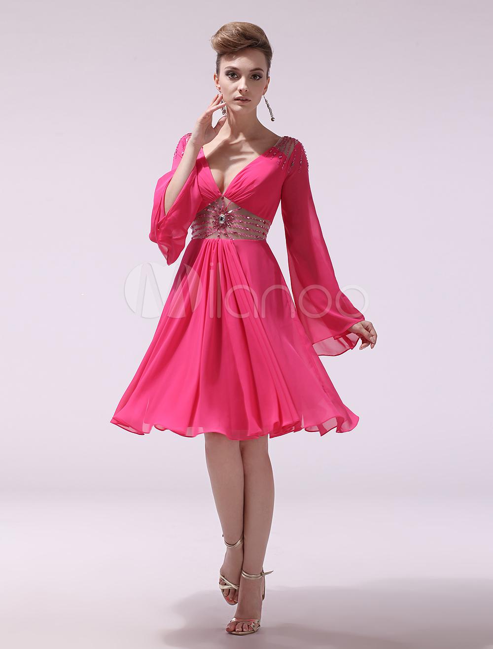 Chiffon Cocktail Dress Hot Pink V Neck Prom Dress Beaded Long Sleeve Pleated Short Party Dress Milanoo (Wedding Cocktail Dresses) photo