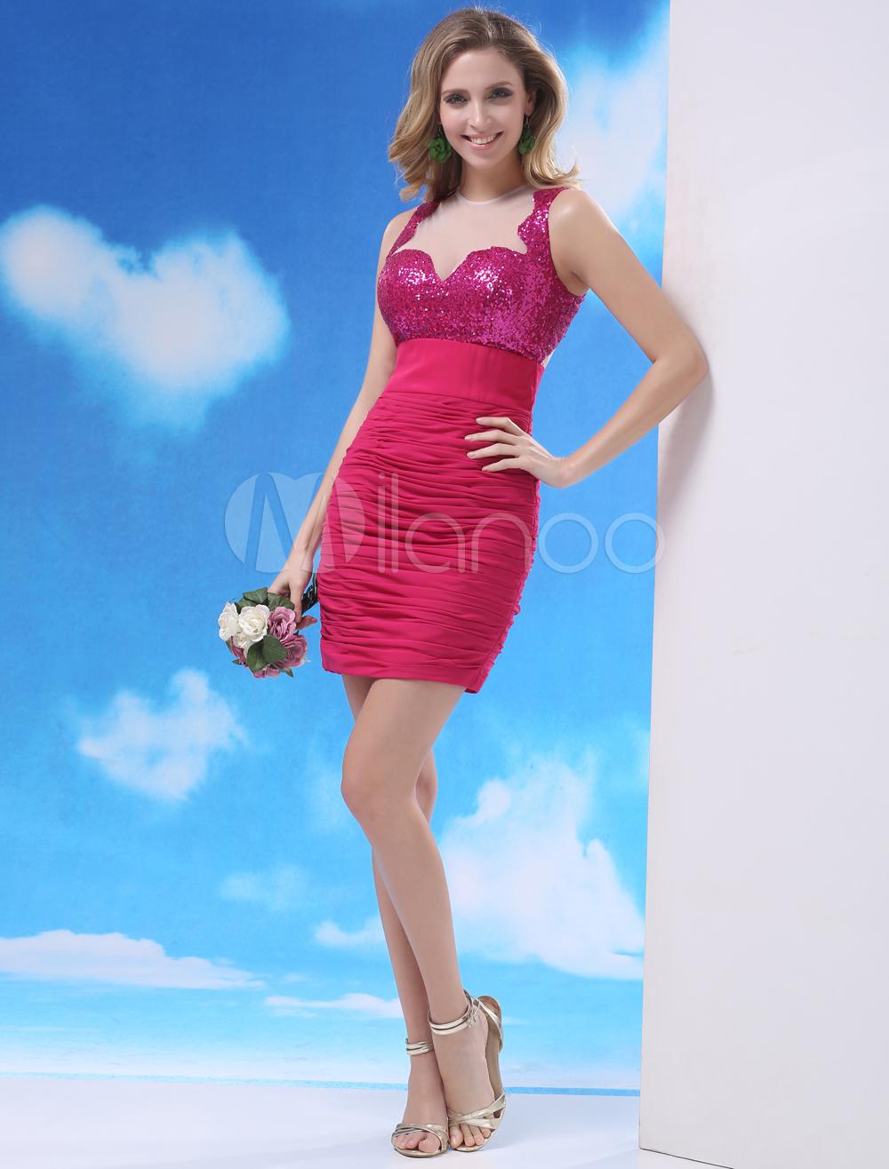 Chiffon Cocktail Dress Sequin Illusion Sheath Prom Dress Hot Pink Jewel Neck Sleeveless Ruched Party Dress Milanoo (Wedding Cocktail Dresses) photo