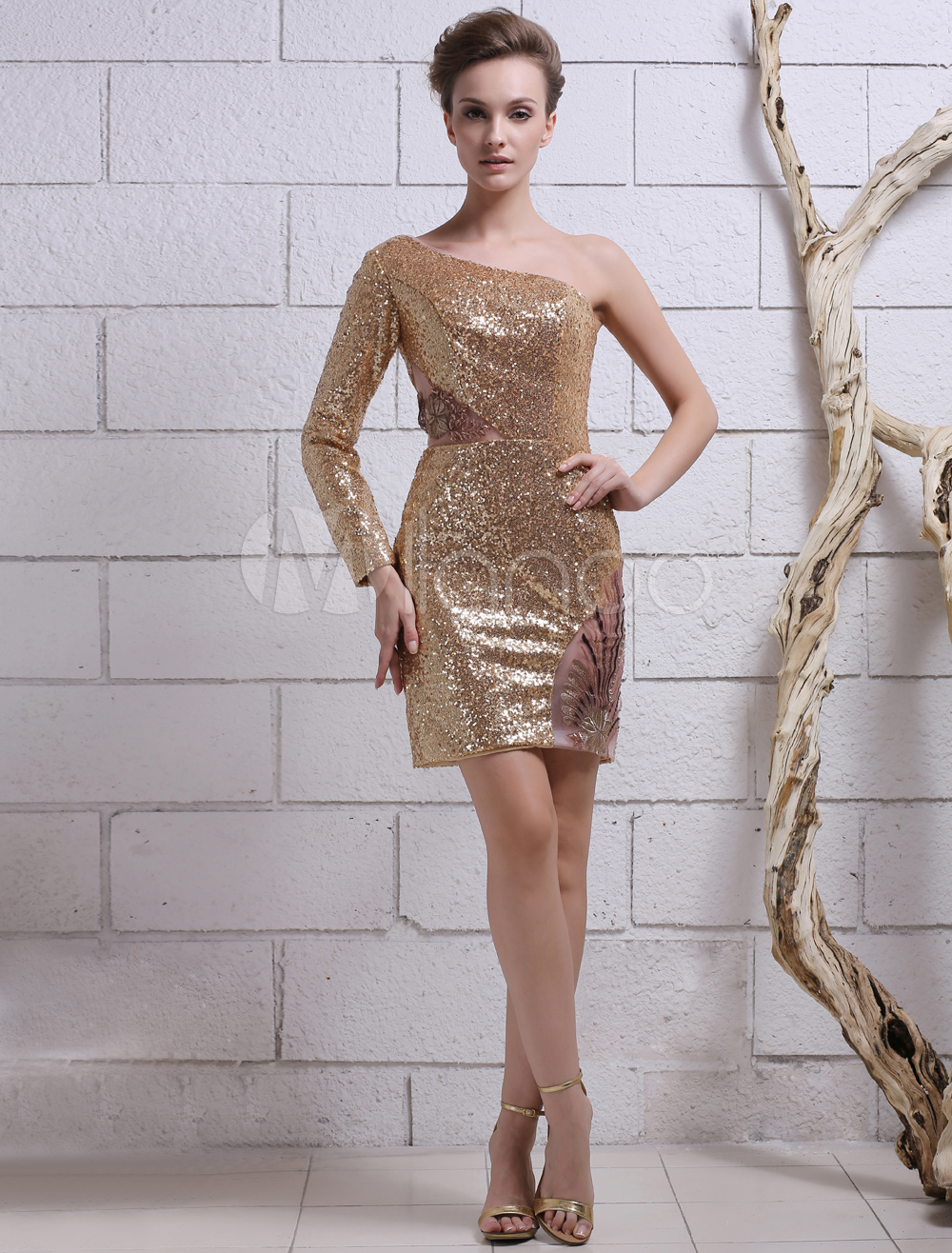 Gold Sheath One-Shoulder Embroidered Sequined Cocktail Dress with Long Sleeves Milanoo (Wedding Cocktail Dresses) photo