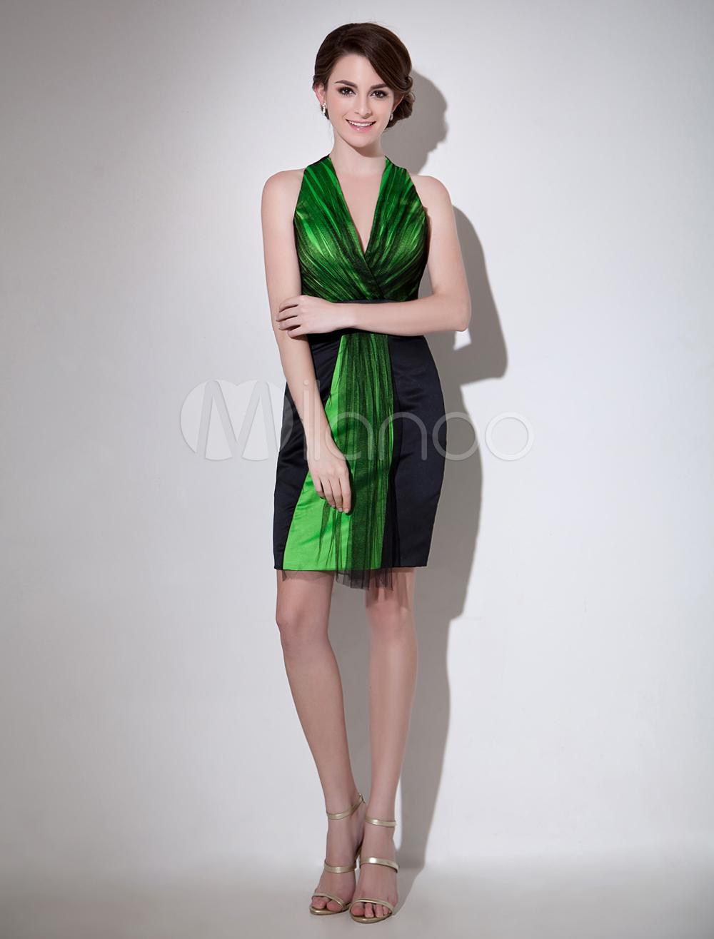 Gorgeous Black Sheath V-Neck Pleated Sleeveless Tulle Cocktail Dress Milanoo