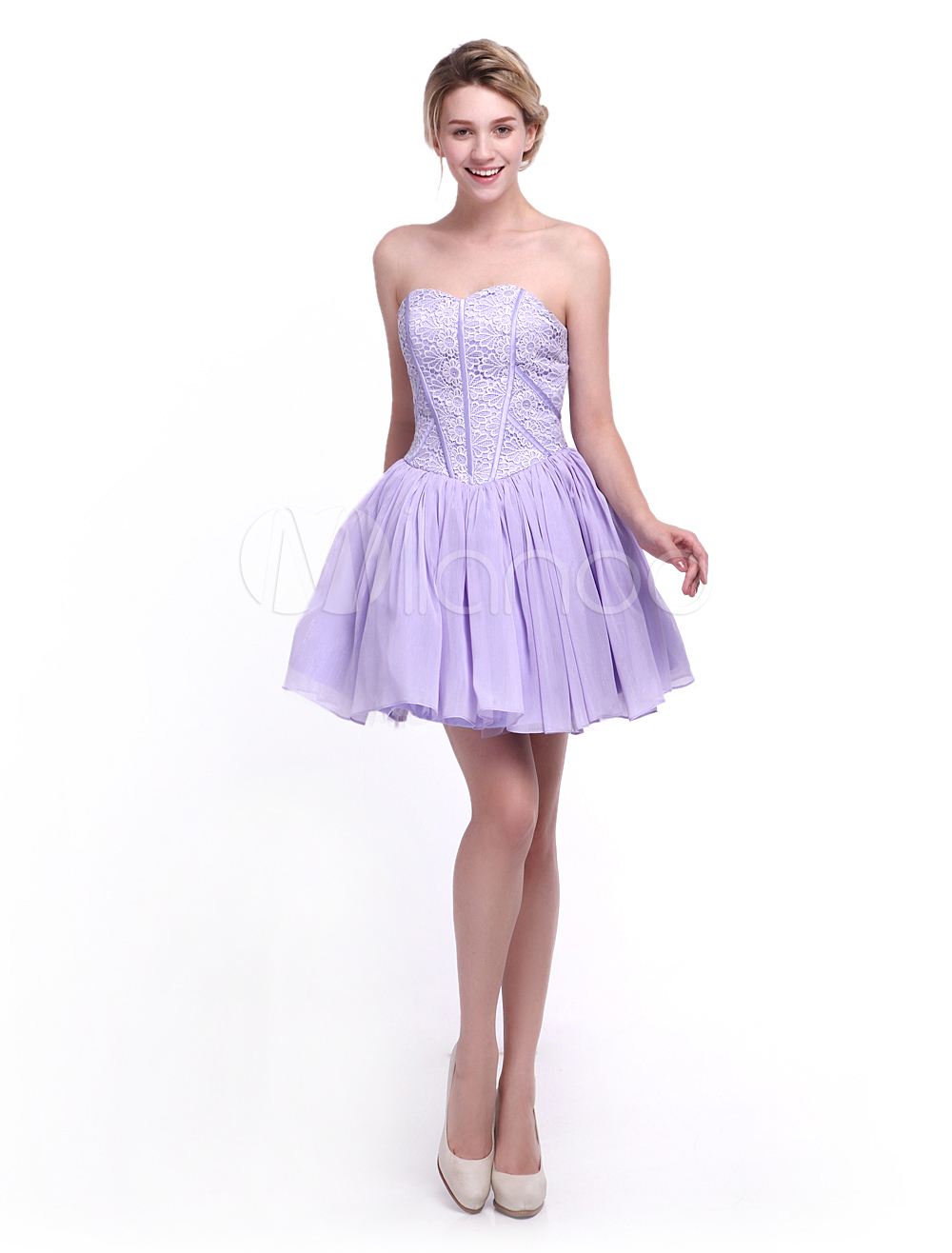 Lavender A-line Short Lace Bridesmaid Dress with Pretty Sweetheart Neck Milanoo