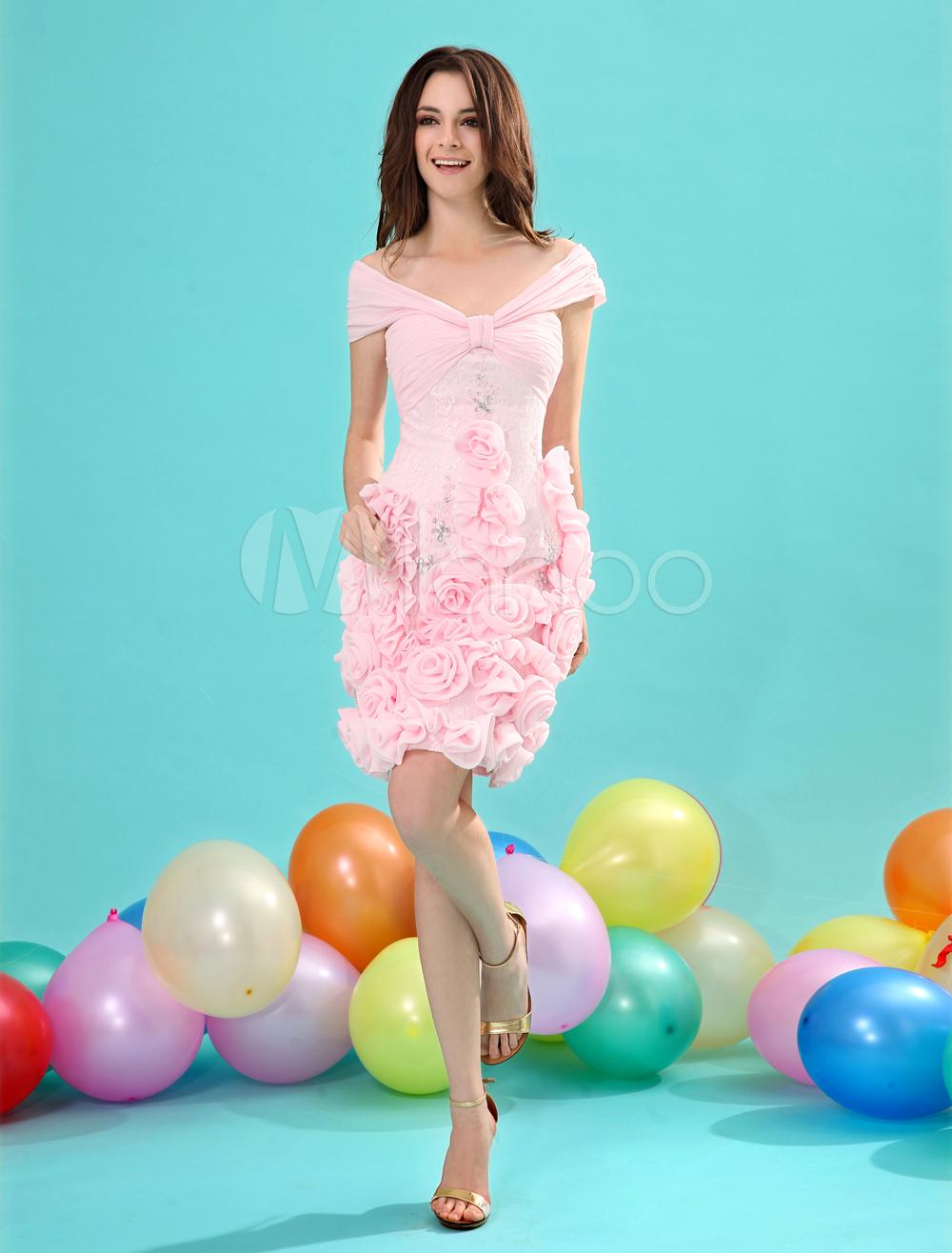 Off-The-Shoulder Flower Chiffon Pink Short A-line Cocktail Dress Milanoo