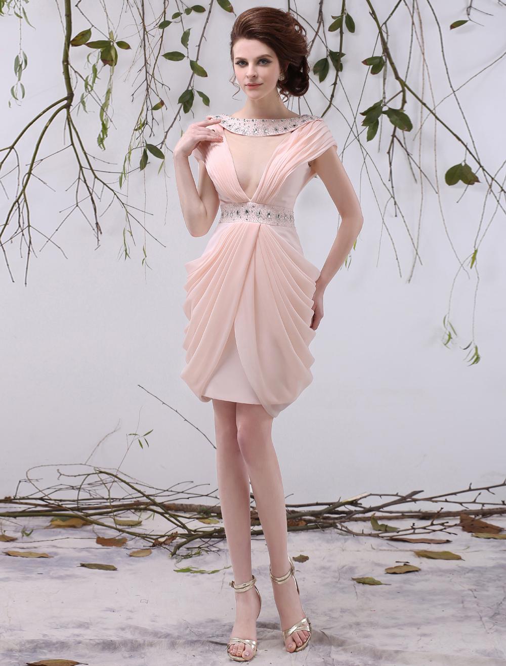 Pink Sheath Bateau Neck Beading Short Sleeves Chiffon Cocktail Dress Milanoo (Wedding Cocktail Dresses) photo