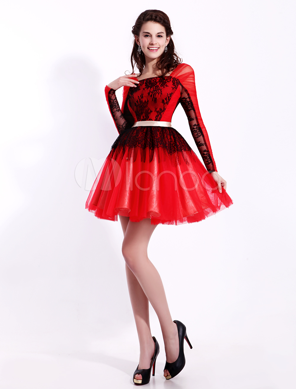Red Square Neck Long Sleeves Sash A-line Tulle Gorgeous Prom Dress Milanoo (Wedding Prom Dresses) photo