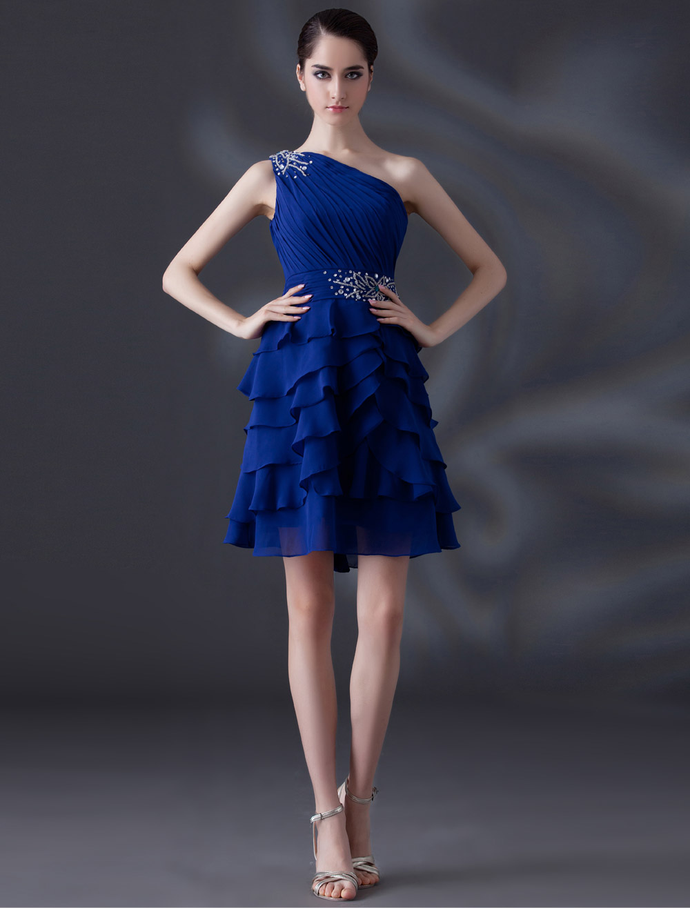 Royal Blue A-line Beading One-Shoulder Chiffon Gorgeous Cocktail Dress
