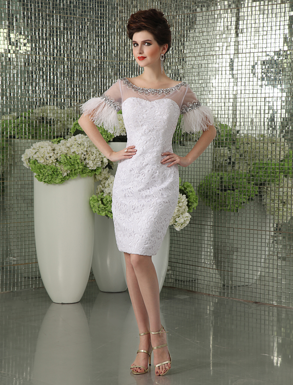 Sheath White Lace Feather Knee-Length Cocktail Dress Milanoo (Wedding Cocktail Dresses) photo