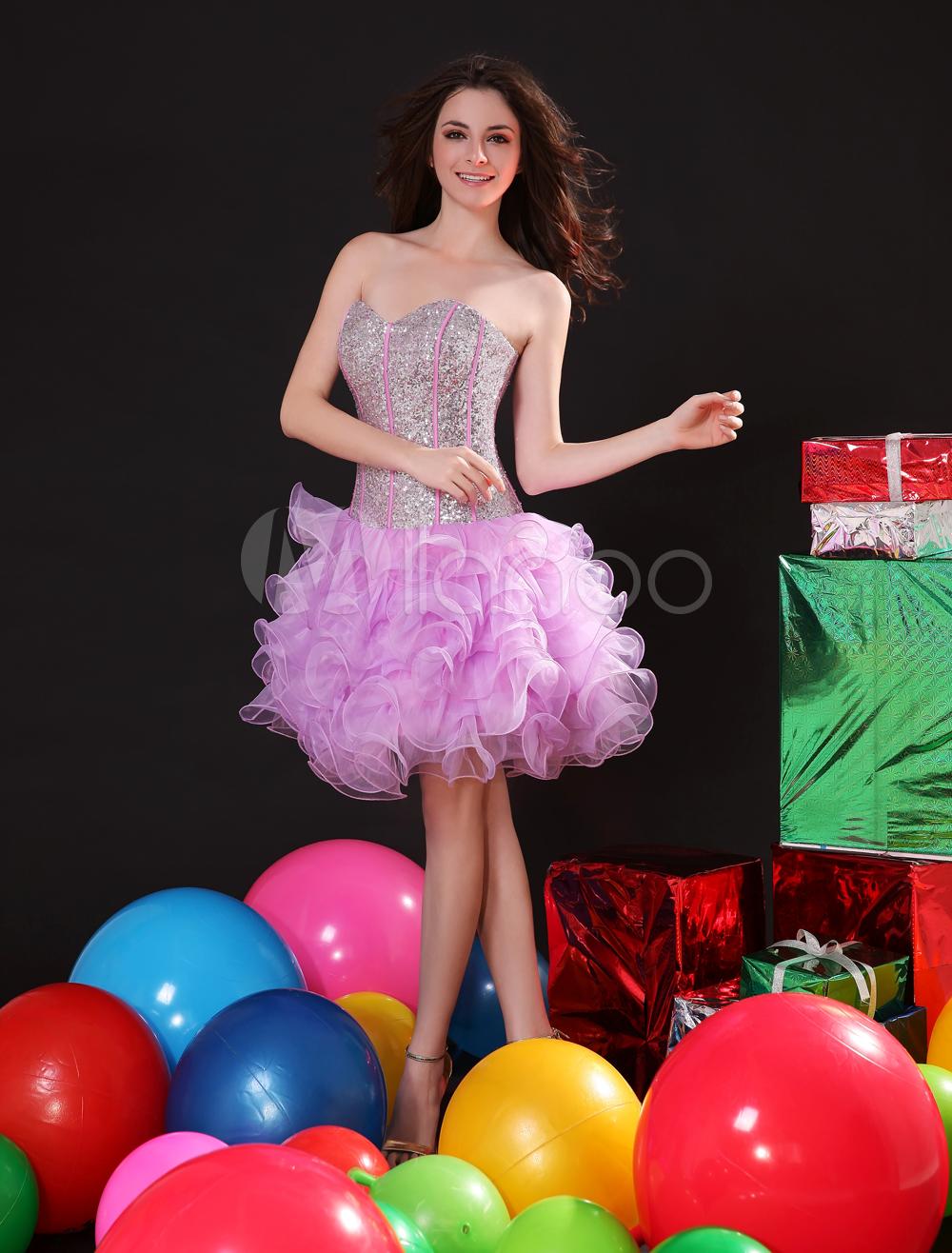 Sequin Prom Dress Fuchsia Pink Sweetheart Strapless Party Dress Ruffles Organza Homecoming Dress (Wedding) photo