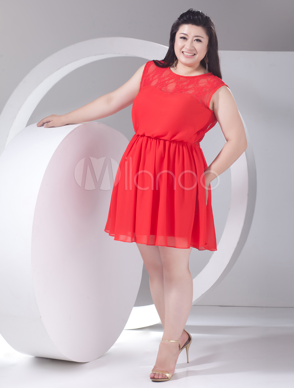 2013 Style Red Chiffon Lace Jewel Neck Plus Size Cocktail Dress