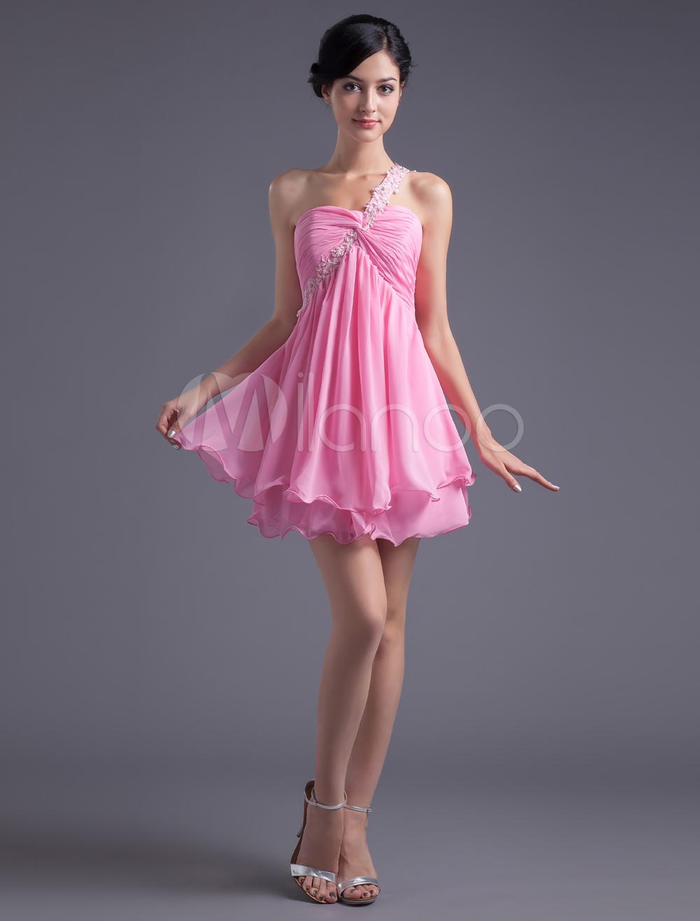 A-line Pink Chiffon Beading One-Shoulder Short Trendy Homecoming Dress (Wedding Cheap Party Dress) photo