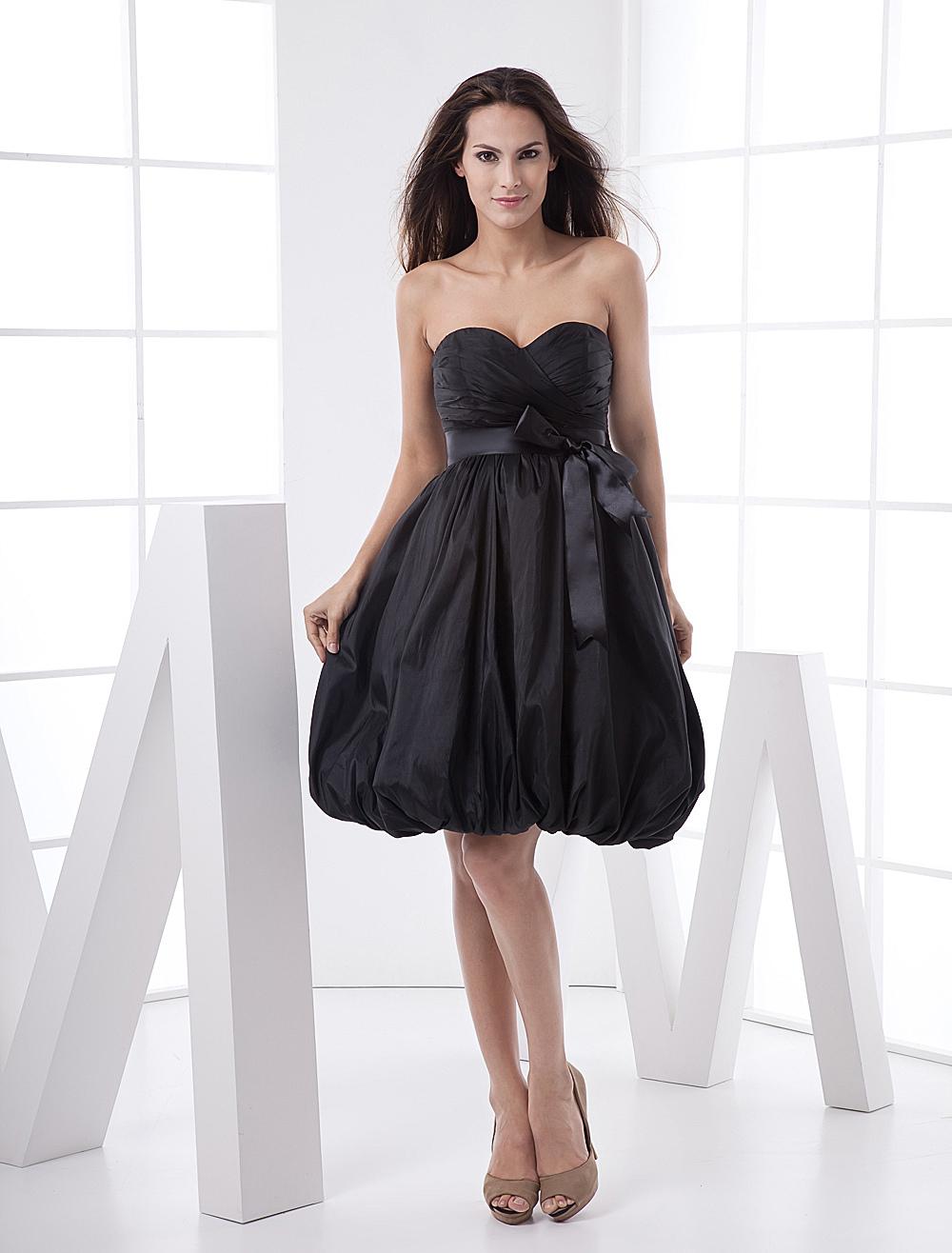 Black Fashion Sweetheart Strapless Empire Waist Taffeta Prom Dress (Wedding Cheap Party Dress) photo