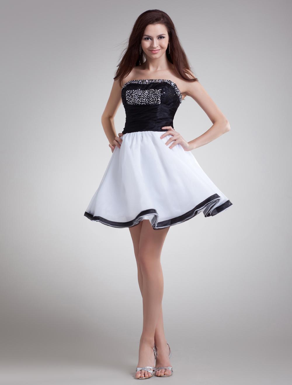 Black Sequin Strapless Organza Short Fashion Cocktail Dress (Wedding Cheap Party Dress) photo