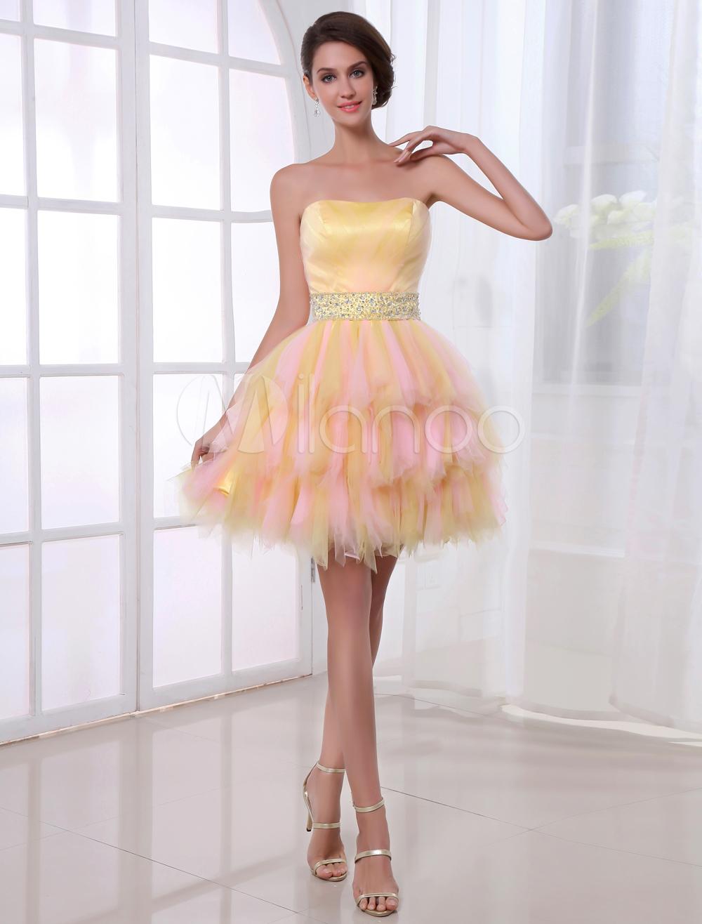 Cute A-line Net Beading Strapless Short Prom Dress (Wedding Prom Dresses) photo