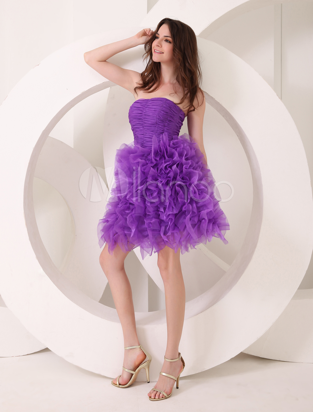 Fashion Lavender A-line Ruffles Tulle Prom Dress