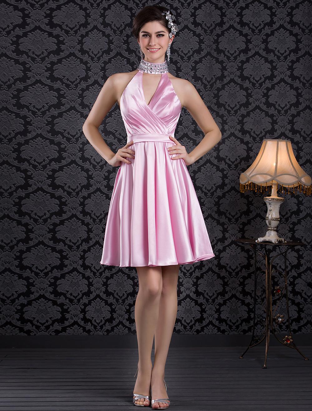 Glamour Pink Short A-line Halter Rhinestone Cocktail Dress