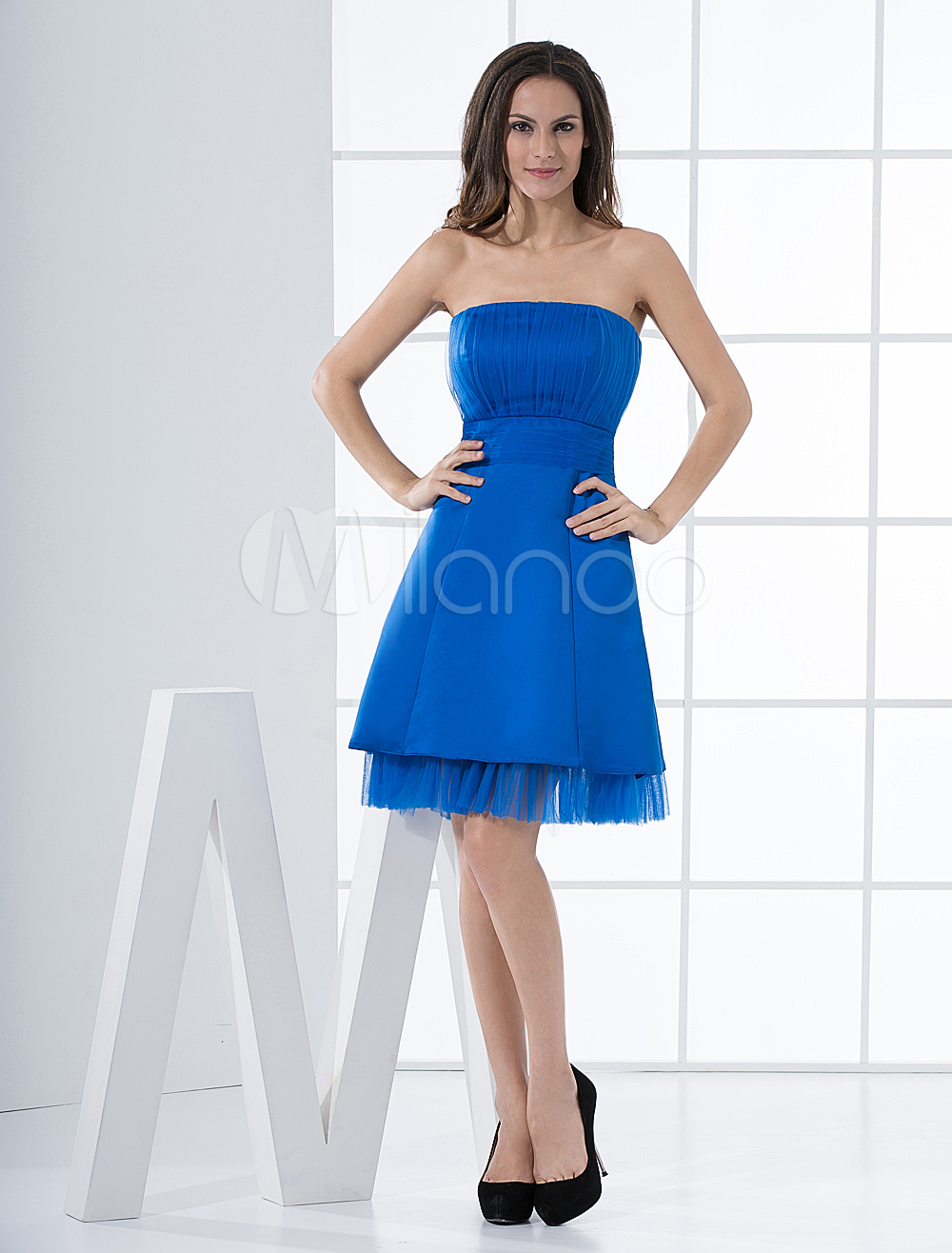 Glamour Royal Blue Short A-line Cocktail Dress with Strapless Neck (Wedding Cheap Party Dress) photo