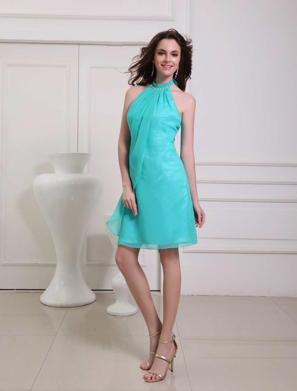 Green Halter A-line Bow Chiffon Pretty Prom Dress (Wedding Cheap Party Dress) photo