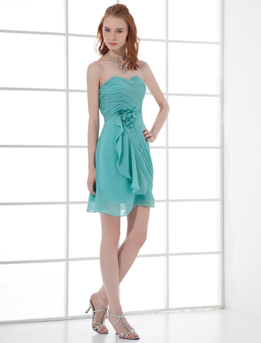 Short Prom Dress Turquoise Chiffon Strapless Sweetheart Cocktail Dress Cascading Ruffle Draped Mini Homecoming Dress