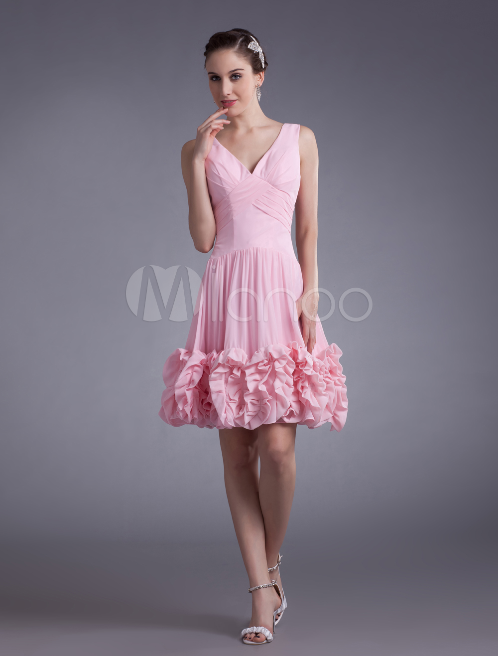 Pink Applique V Neck Chiffon Short Cocktail Dress For