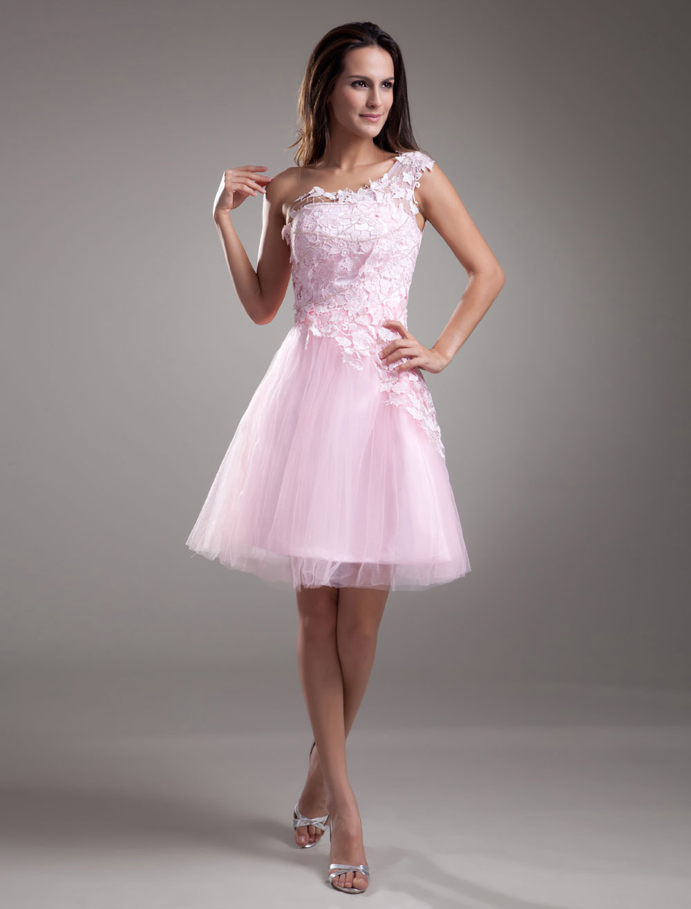 Pink Homecoming Dress One-Shoulder Lace Tulle Dress Wedding Guest Dress photo