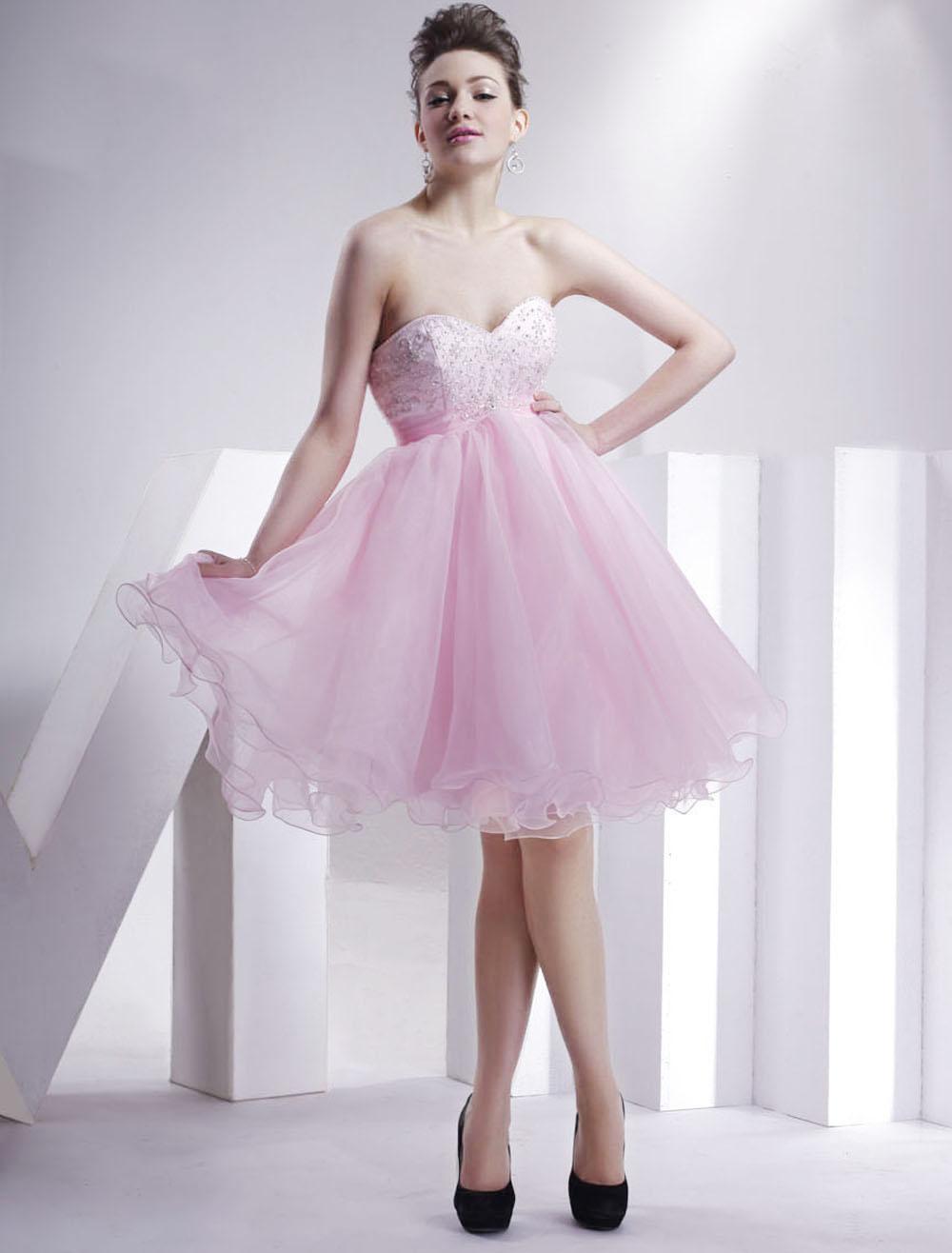 Pink Sweetheart Beaded Organza Summer Short Cocktail Dress