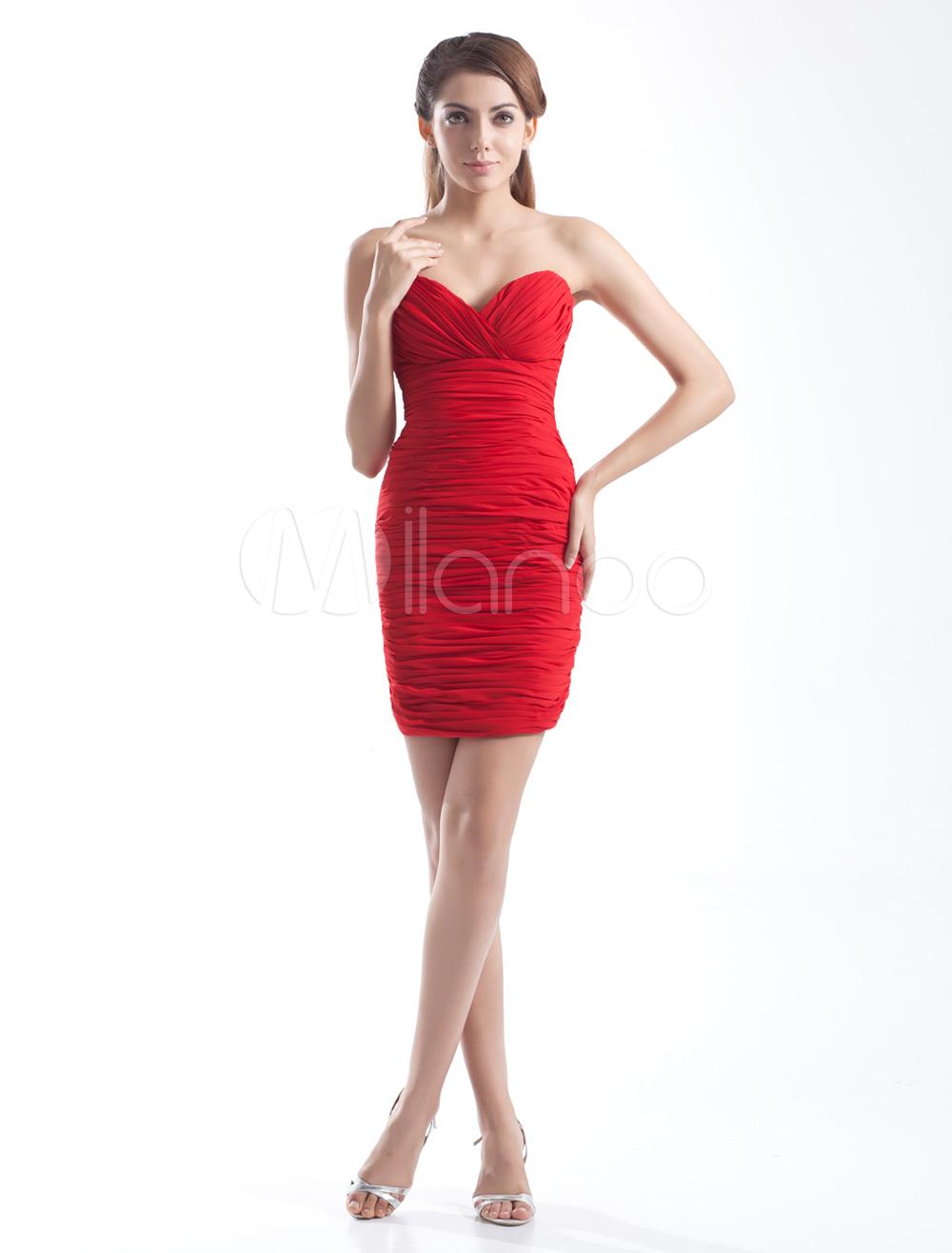 Red Short Sweetheart Pleated Chiffon Sheath Cocktail Dress (Wedding Cheap Party Dress) photo