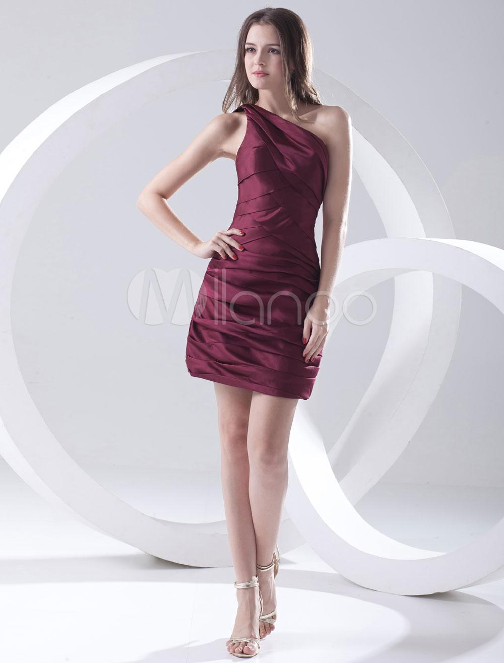 Sheath Burgundy Satin Ruched One-Shoulder Short Fashion Cocktail Dress