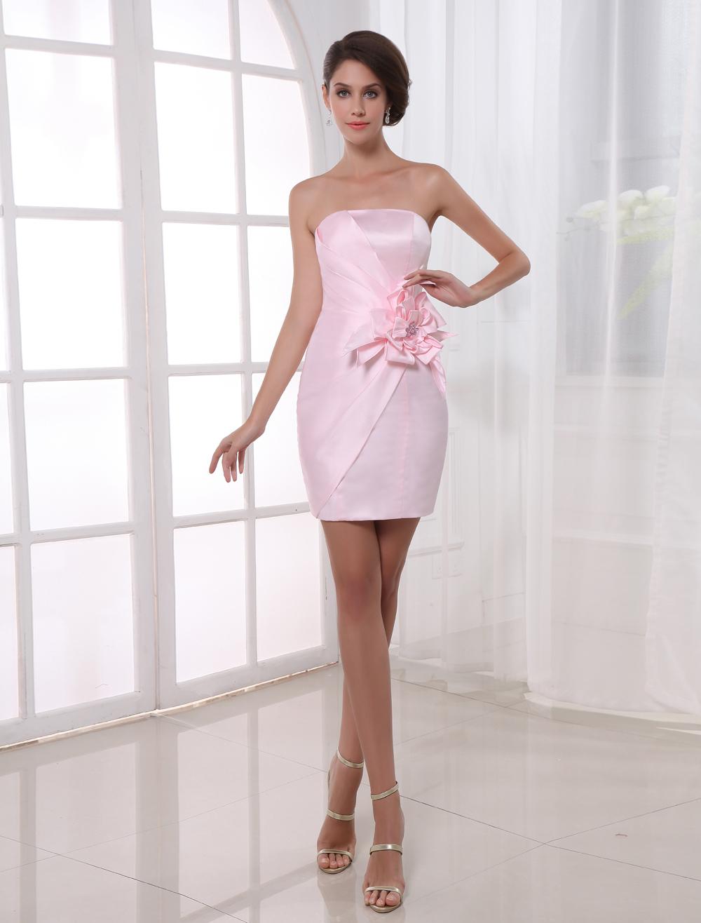 Sheath Pink Satin Floral Strapless Short Cocktail Dress For Women