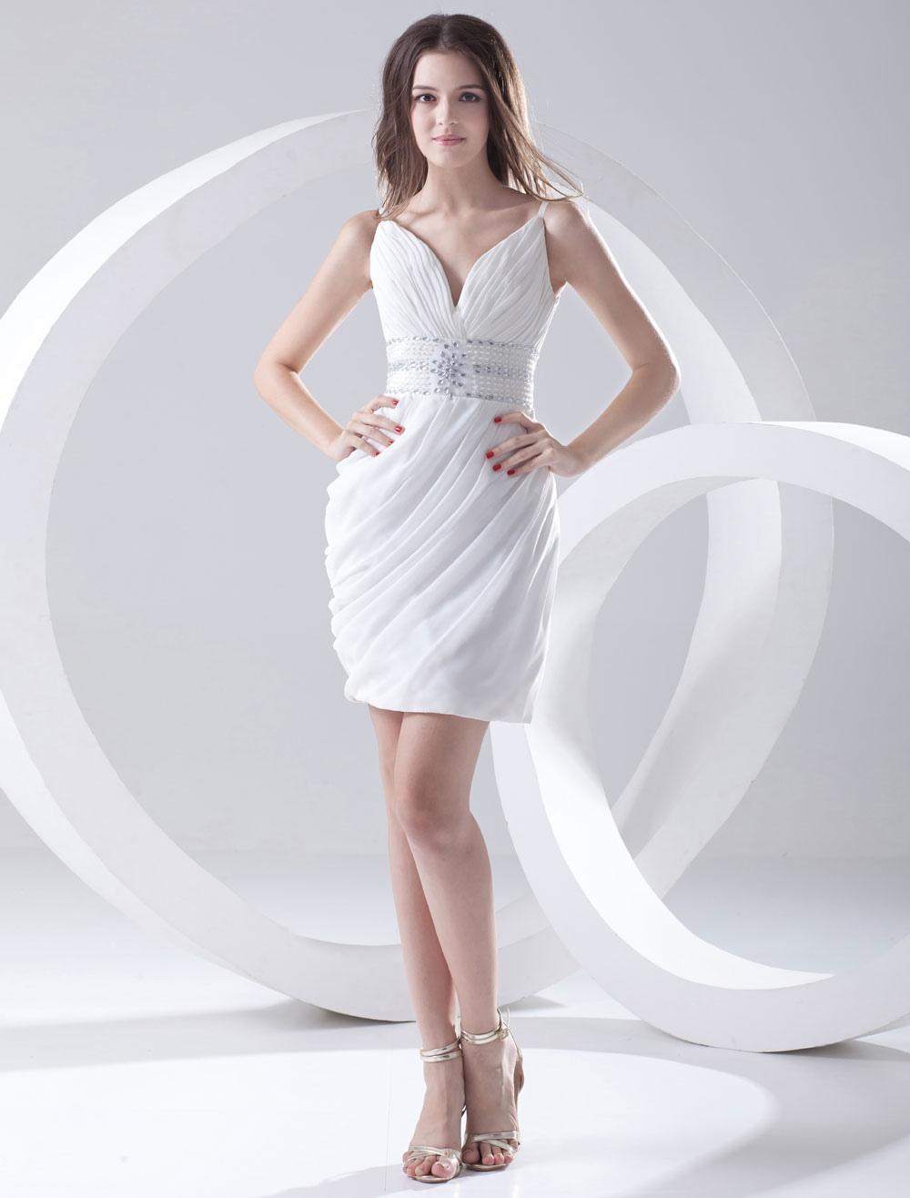 Sheath White Chiffon Rhinestone Short Women's Cocktail Dress