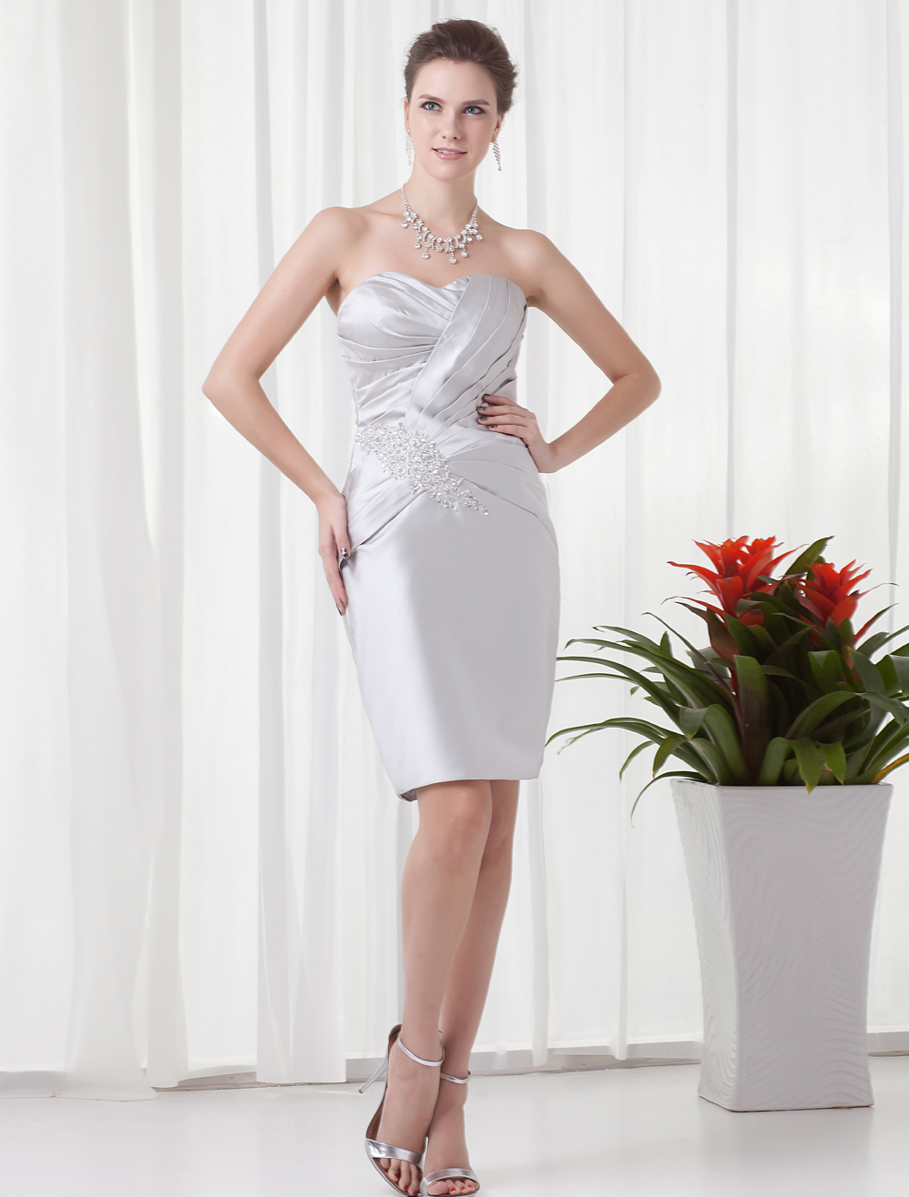 Sweetheart Ruched Cocktail Dress (Wedding Cheap Party Dress) photo