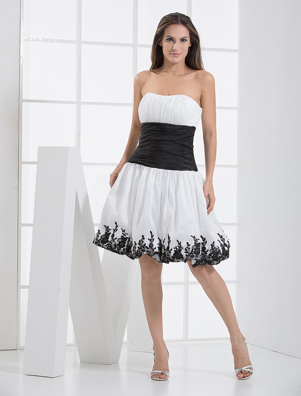 Strapless Sash Applique Taffeta Summer Cocktail Homecoming Prom Dress