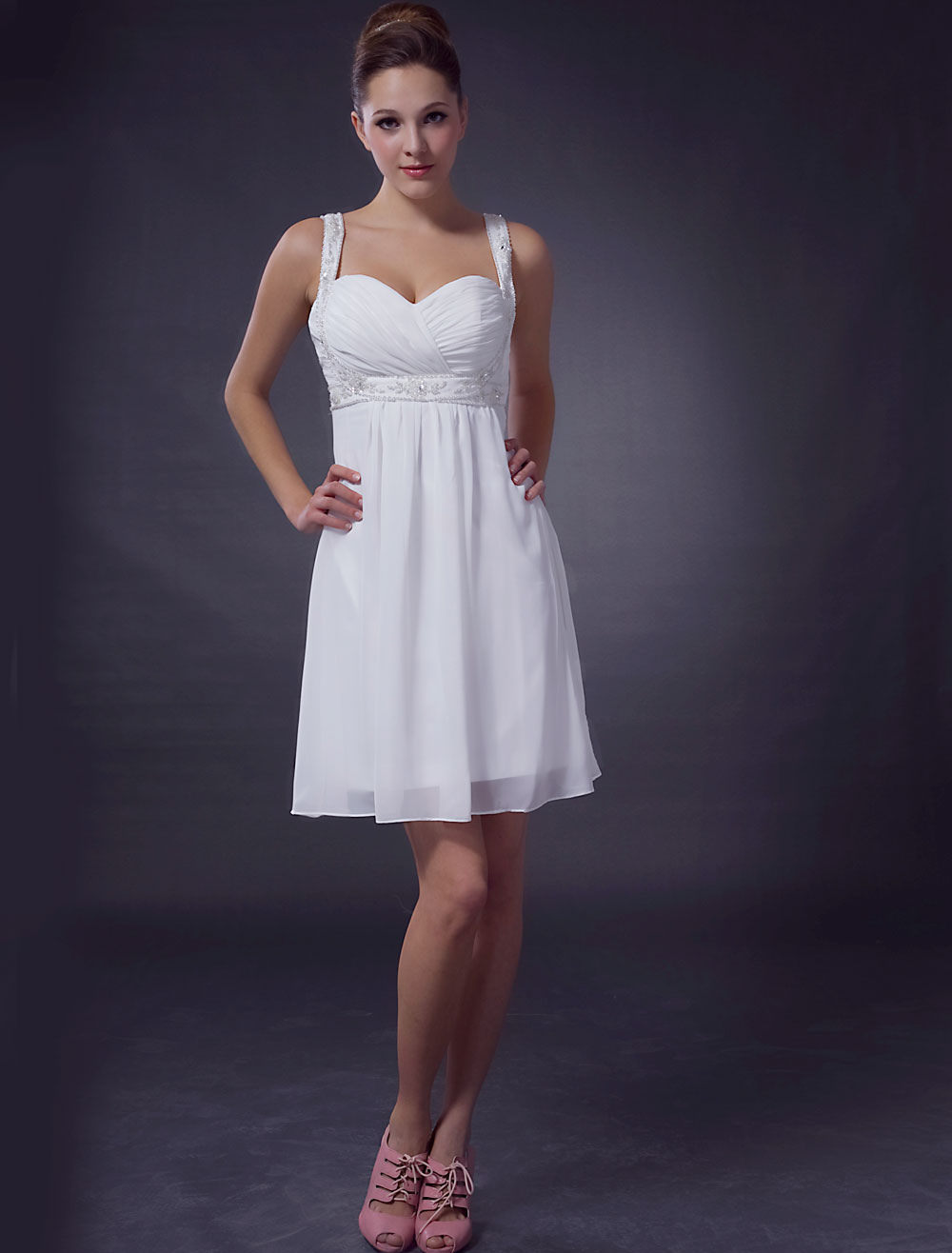 White Chiffon Short Cocktail Dress with Beaded