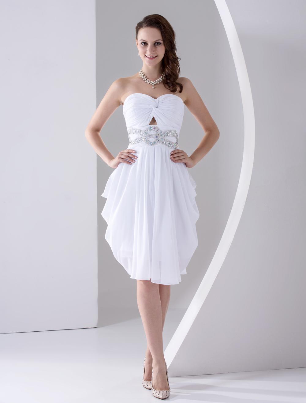 White Prom Dress Rhinestone Strapless Backless Dress (Wedding Cheap Party Dress) photo