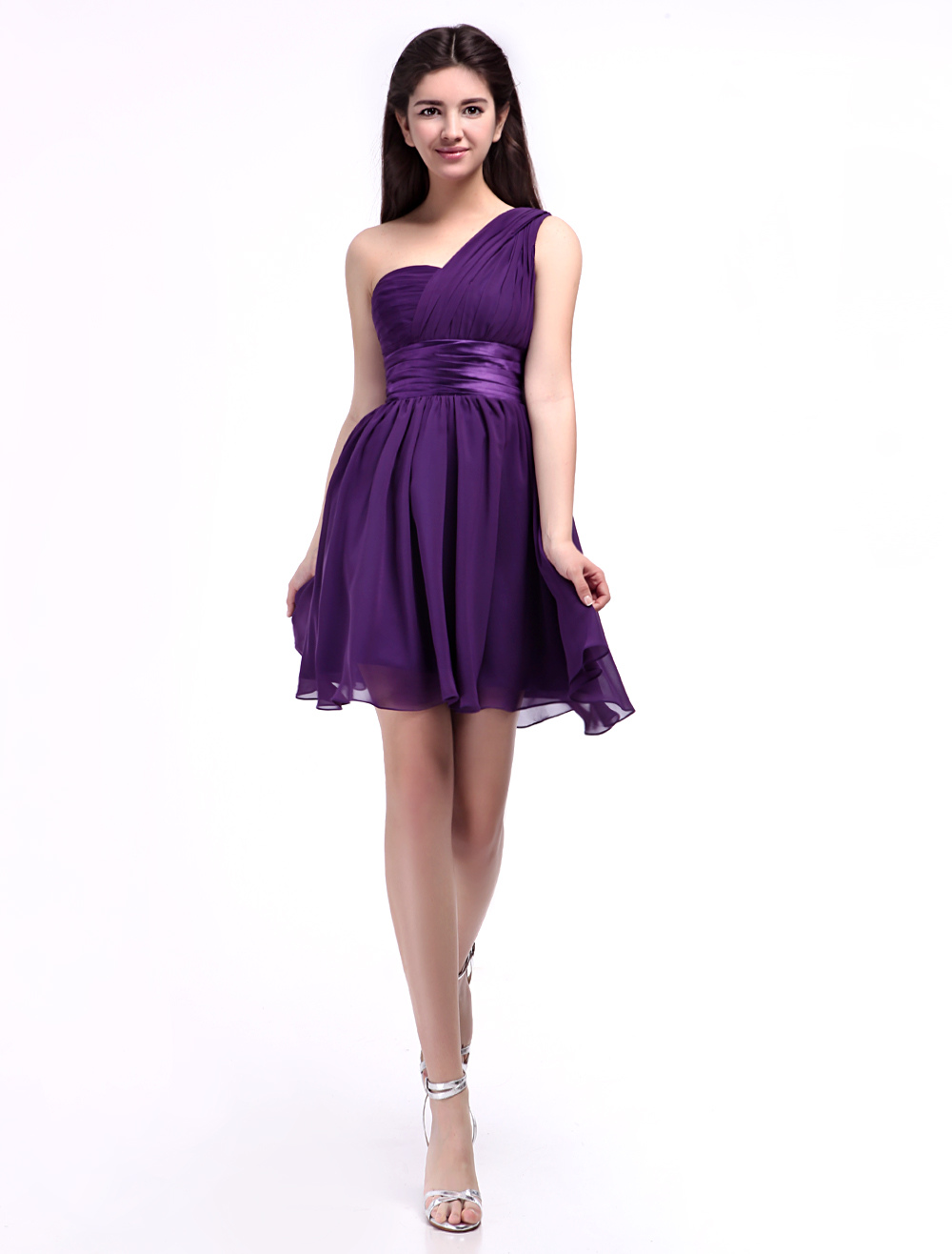 Chiffon Bridesmaid Dress Lavender One Shoulder Prom Dress Empire Waistline A Line Short Party Dress With Sash