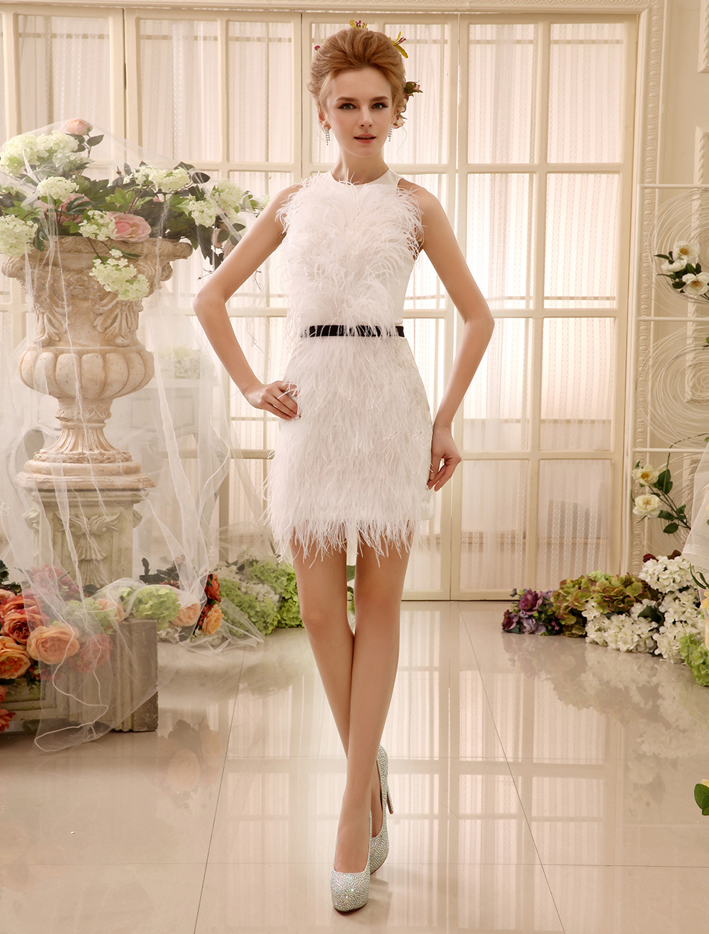 Feather Satin Ivory Bridal Short Wedding Dress with Sheath Jewel Neck Milanoo photo