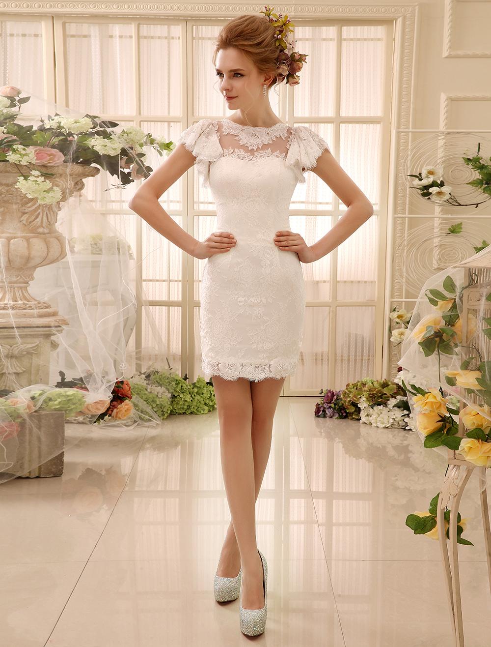 Ivory Wedding Dresses 2018 Cut Out Buttons Lace Short bridal dress Milanoo (Cheap Wedding Dress) photo
