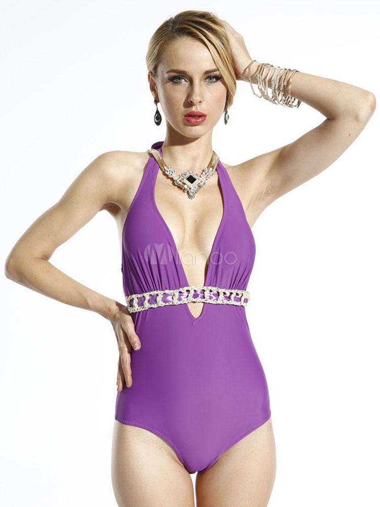 Cut Out Monokini Swimsuits Solid Color Cut Out Fabulous Womens Monokini Swimsuit