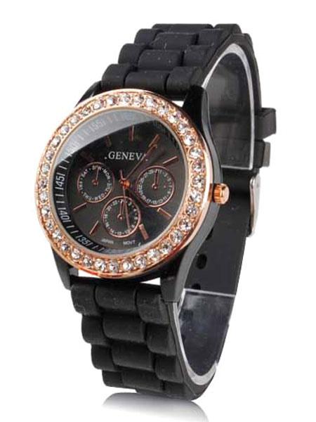 Casual Silica Metal Round Shape Womens Wrist Watch