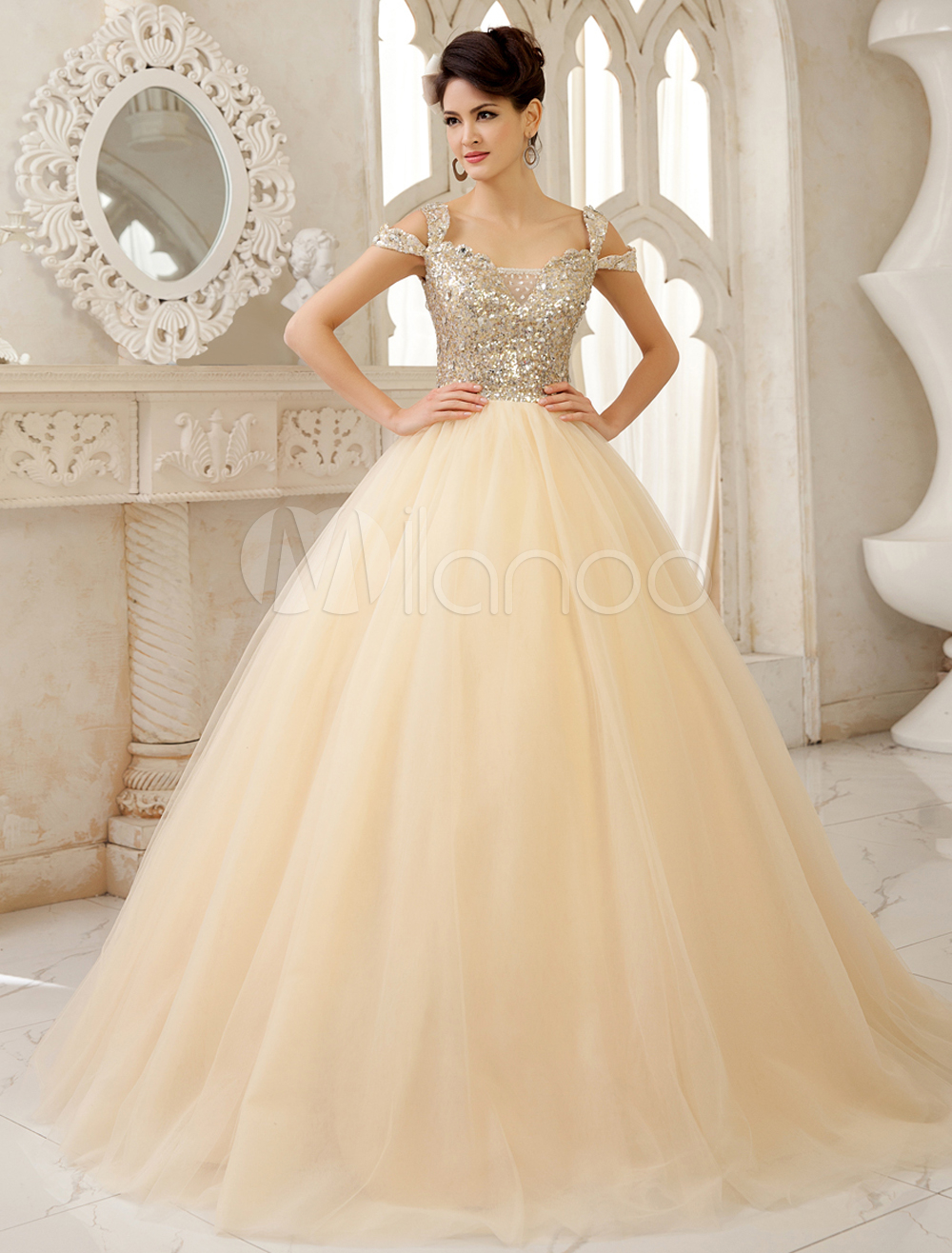Champagne A-line Off-The-Shoulder Sequin Floor-Length Wedding Gown Milanoo