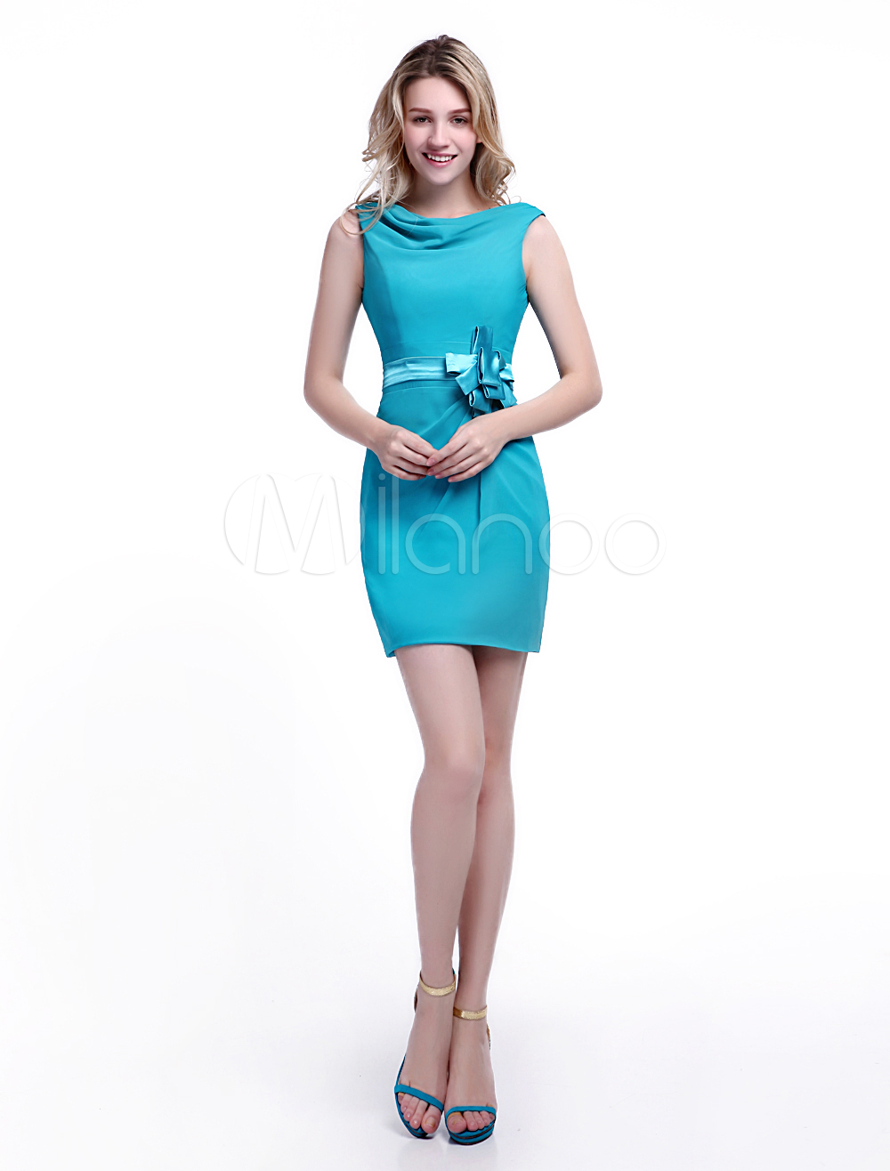 Turquoise Bridesmaid Dress Satin Bow Sash Cocktail Dress Cowl Neck Sleeveless Sheath Short Party Dress Wedding Guest Dress Milanoo