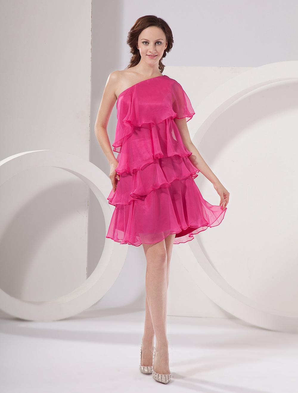 Hot Pink Homecoming Dress One Shoulder A Line Chiffon Layered Prom Dress (Wedding Cheap Party Dress) photo